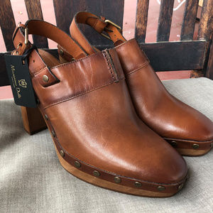 Massimo Dutti Brown Leather Platform Mules Shoes